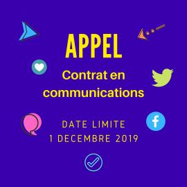 Appel : contrat en communications – date limite 1er décembre 2019